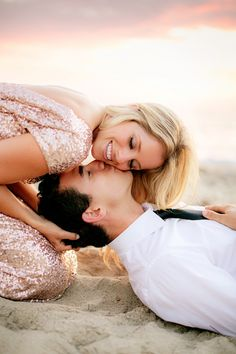 So sweet! Love this glam engagement session! That dress!