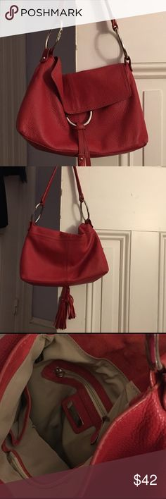 """Gotta sell these bags!  ALFANI Red Bag. WOW!! BEAUTIFUL RED LEATHER Alfani Bag.  Brand New!  And everyone must have their red bag in their closet.  No excuses.   The interior has a zipped up pocket and a pocket to hold your phone.  About 12"""" x 10"""" x 4"""".  Shoulder strap. Alfani Bags Shoulder Bags"""