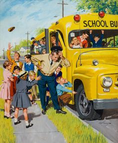 Unexpected Holiday, art by Arthur Sarnoff. School Days catching the bus Vintage Abbildungen, Photo Vintage, Vintage School, Vintage Prints, Vintage Posters, Vintage Pictures, Vintage Images, Photo Images, Bing Images