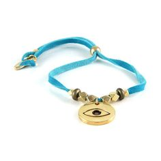 World on a String Gold Bracelet with Eye Charm