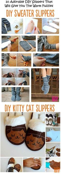 Turn your old sweater into slippers . . . regular or kitty cat. | 24 Creative Life Hacks Everyone Should Know Before Winter Comes