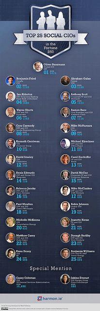 Infographic: Top 25 Social CIOs in the Fortune 250 Facebook Marketing, Internet Marketing, Social Media Marketing, Digital Marketing, Social Web, Social Networks, Articles En Anglais, Social Behavior, Social Business