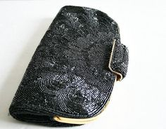 vintage 60s 70s BLACK PEACOCK beaded clutch by PasseNouveauVintage, $19.25