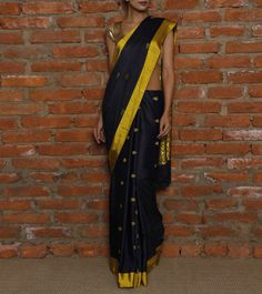 Dark Blue Eri Silk Handwoven Saree
