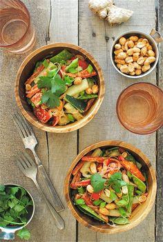 Fresh Veggies! | Peanut Noodles with Vegetables | @bevcooks