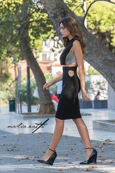 5cbced242e0de Nadia Rapti Black Pencil Skirt With Cut-Outs   Fashionnoiz.com  NadiaRapti   Fashionnoiz