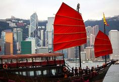 A traditional Chinese fishing boat, known as a junk, in Victoria Harbor  (Photograph by Beth Williams)