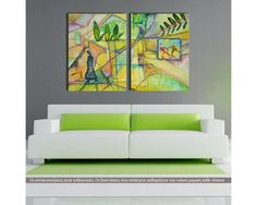 Greek landscape, δίπτυχος  πίνακας σε καμβά (multipanel)
