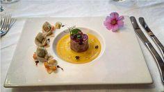 Battuta di manzo alle mandorle tortelli di tacchino con vellutata di zucca e zenzero #napoli #aversa #caserta#milano #palermo #messina #italia #torino #venezia #bari #salerno #roma#cagliari#firenze #bologna #rimini #udine #parma #pisa #ancona #trento #aosta #crotone #pisa #verona #jesolo #catania #santeodoro#italy #salerno by tristano89