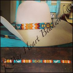 Beaded hat band by k bar heart beadwork.  Find us on Facebook!