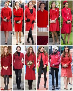 Kate's red/burgundy coloured coats and jackets worn since becoming a Duchess. 1: CH Carolina Herrera double-breasted coat - $1,915. Worn in Whitehorse, Yukon 2016. 2: Luisa Spagnoli jacket and matching dress (later turned into skirt). It has been worn five times: to a visit to St Andrews University a few months before her wedding in 2011; in Christchurch, NZ on the 2014 tour; when Kate took over as Honorary Air Commandment from Prince Philip in 2015; and a visit to a primary school for…