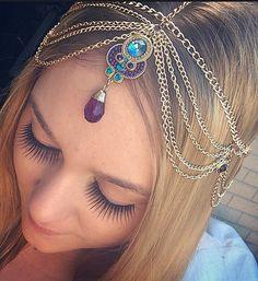 1bb2fea02a0 Gold Theia Head Chain Choice of Purple or Aqua by SpiritsRunFree Hair  Jewelry