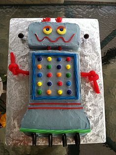 """So many cute ideas, calling chips """"computer Chips"""" and chex mix """"nuts & bolts""""! Birthday Party Themes, Birthday Cake, Birthday Ideas, Robot Cake, Computer Chip, Party Entertainment, Cupcake Cakes, Cupcakes, Little People"""