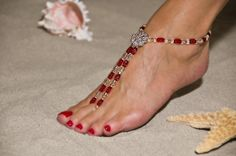 """Romantic Ruby"" Barefoot Sandals"