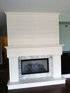 clean white custom milled fireplace surround with shiplap and stone accents diy pinterest cas flats and french