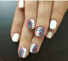 Blanco Flower Nail Designs, Short Nail Designs, Nail Art Designs, Henna Nails, Gel Nails, Cute Nails, Pretty Nails, Sharpie Nails, Rainbow Nail Art