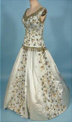 """c. 1954 BALMAIN's """"Jolie Madame"""" Opulent Light Blue Silk Satin Beaded Ballgown!"""