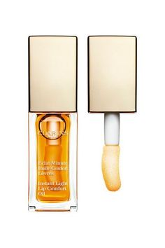 24 European Beauty Products Clarins Instant Light Lip Comfort Oil Lip treatments speak to the Korean trend of expressing healthy skin before anything else.
