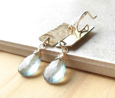 Moss Aquamarine Hammered Brass Earrings Gold by DianeMabrey
