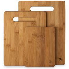 Don't be caught again without an extra cutting board. This set from Totally Bamboo includes three versatile 100% bamboo cutting boards. The boards measure 6″ by 8″, 8-1/2″ by 11″ and 9-1/2″ by 13″ and each one is only 3/8″ thick. Plenty of...