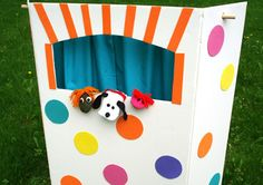 DIY puppet theater: made from foldable display board or large box, broom handle or dowel, and pillowcase-curtain. Kids love using puppet shows to retell stories -- a nice twist to readers' theater.
