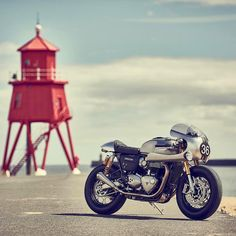 Via Down & Out Cafe Racers: A new Thruxton R customized for Triumph Motorcycles and Barbour International. Isn't she beautiful?