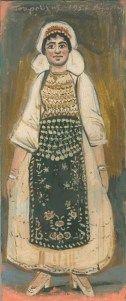 ΓΙΑΝΝΗΣ ΤΣΑΡΟΥΧΗΣ Η γυναίκα από την Αταλάντη, με την παραδοσιακή της φορεσιά αποτελεί ένα από τα θέματά του που συναντούμε συχνά σε πίνακές του της δεκαετίας του 1950-60, αποδεικνύοντας ακόμη μια φορά πώς ο λαϊκός πολιτισμός μπορεί να αποτελέσει πηγή έμπνευσης για τους καλλιτέχνες Folk Costume, Costumes, Street Art, Greek Culture, Painting, Traditional, Artist, Artworks, Etchings