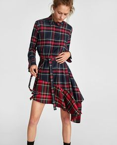 Women Plaid Pattern Printed Full Sleeve Waist Belted Mini Shirt Dress Plus Size High Street Fashion, Mini Shirt Dress, Zara Dresses, Asymmetrical Dress, Belted Dress, Cheap Dresses, Plus Size Dresses, Dress To Impress, Wrap Dress