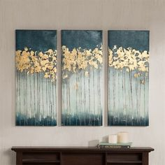 Madison Park Midnight Forest Gel Coat Canvas With Gold Foil Embellishment Teal 15x35x153