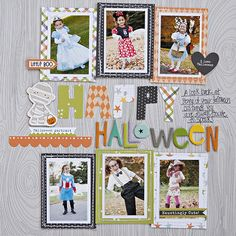 Happy Halloween - Scrapbook.com - Do a look back at past costumes layout. 6 mini vertical photos fits nicely on one 12x12 page.