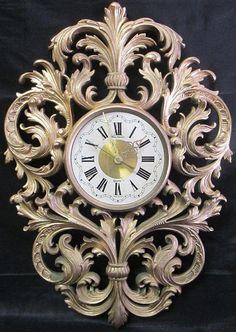 Gorgeous New Haven Hollywood Regency Style Gold Scroll Work Wall Clock Wood Clocks, Antique Clocks, Molduras Vintage, Unusual Clocks, Wood Carving Designs, Art Deco Movement, Clock Art, Mirror Painting, Grandfather Clock