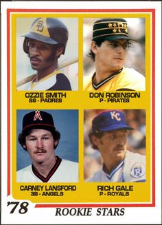 Baseball Cards That Never Were: 1978 Topps Rookie Stars: Ozzie Smith, San Diego Padres, Don Robinson, Pittsburgh Pirates, Carney Lansford, California Angels, Rich Gale, Kansas City Royals