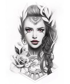 Pin by Nguyen DK on Tattoo Design Tattoos Realism tattoo Tattoo designs Girl Face Tattoo, Girl Face Drawing, Face Tattoos, Tattoo Girls, Girl Tattoos, Sleeve Tattoos, Chicano Tattoos, Chicano Art, Tattoo Sketches