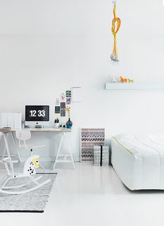 White interior with pops of modern interior design Office Workspace, Home Office, Bedroom Workspace, Workspace Design, Interior Design Inspiration, Home Decor Inspiration, Design Ideas, Home Interior, Interior Architecture