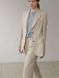 Linen Jacket Beige | W Concept Blazer Outfits For Women, Street Hijab Fashion, Linen Jackets, Professional Dresses, Women's Fashion Dresses, Minimalist Fashion, Clothes For Women, Tuxedo Jacket, Concept
