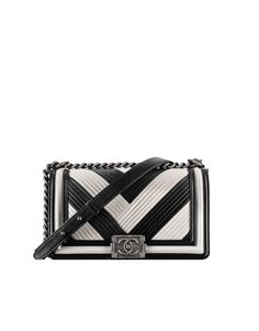 Chanel Black White Pleated Calfskin Boy Chanel in Rome Old Medium Bag Coco  Chanel Handbags 70206bb7a41
