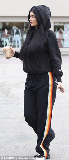 Coffee casual: Kylie stopped in for a caffeine break later in the afternoon and changed up her outfit