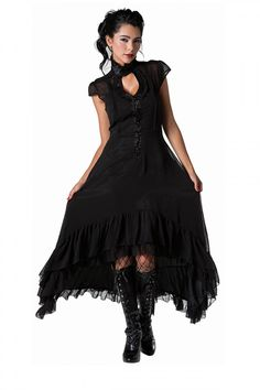 Sheer Flowing Romantic Victorian Gothic Gauzy Dress Steampunk Black Goth Keyhole in Clothing, Shoes & Accessories, Women's Clothing, Dresses Gothic Mode, Gothic Lolita, Gothic Vampire, Victorian Gothic Fashion, Goth Dress, Dress Up, Witchy Dress, Gauze Dress, Lolita Dress