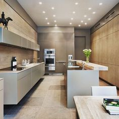Beautiful kitchen designs in Modern style and Art Deco decor are great trends that help create truly unique, exquisite and artistic kitchen interiors Luxury Kitchen Design, Luxury Kitchens, Interior Design Kitchen, Home Kitchens, Home Design, Grey Kitchens, Contemporary Kitchen Renovation, Contemporary Kitchen Design, Open Plan Kitchen