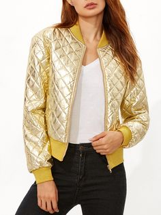 Gold+Ribbed+Trim+Quilted+Padded+Jacket+40.00