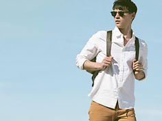 White shirt, denim and bacpack