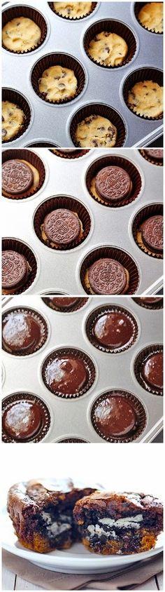 all-food-drink: Cookie-Stuffed Brownie Cupcakes