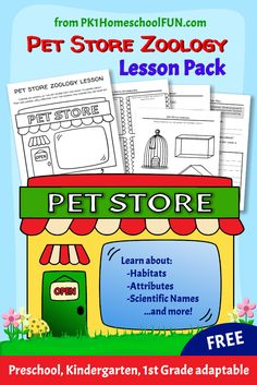 PET STORE: This beginning zoology lesson is perfect for introducing younger students to animal classifications and facts. Print out the free lesson pack and pair with a trip to your local petstore for an easy and fun science lesson for preschool, kindergarten and first grade kids.