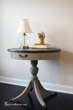 Drum Table painted with Annie Sloan French Linen with top painted with Graphite Chalk Painted sealed with Dark Wax by ThirteenChairs on Etsy https://www.etsy.com/listing/475174451/drum-table-painted-with-annie-sloan