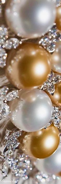 Bright White & Golden Pearls.