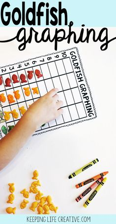 Goldfish Graphing is a fun preschool math activity to practice sorting, counting, and graphing skills with rainbow-colored Goldfish crackers!