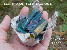 Dryer Lint firestarters with kids, for Lag B'Omer. Use broken crayons, candles for 100% upcycle.