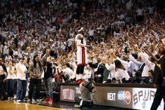 LeBron James of the Miami Heat celebrates after winning a game against the Brooklyn Nets in Game Five of the Eastern Conference Semifinals of the 2014 NBA playoffs at American Airlines Arena in Miami, Florida on May 14, 2014. (Photo by Nathaniel S. Butler/NBAE via Getty Images)