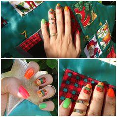 Brega até dizer chega! #Esmaltes Fluorescentes NeonBK, coresrosa, laranjado, verde. Nas gêmeas, Arte Patchwork comTintas vermelha, verde, laranjada e dourada. tudo no blog da Renata Diniz