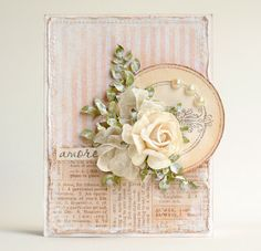 handmade card ... by Ashatanka from Russia ... shabby chic collage ... lovely ...